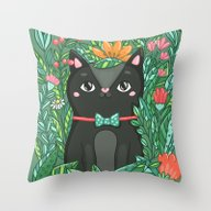 Cat In Flowers Throw Pillow