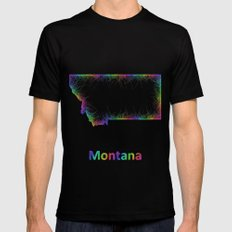 Rainbow Montana map SMALL Black Mens Fitted Tee