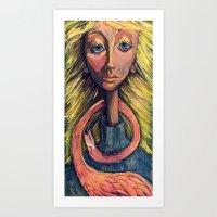 Flamingo Girl With Lashe… Art Print