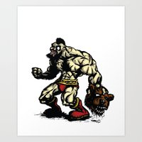 Bear Wrestler - Street Fighter Art Print