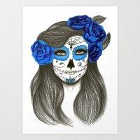 sugar skull Art Prints featuring Sugar Skull by Lidiane Dutra | Illustration