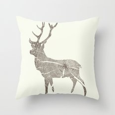 Wood Grain Stag Throw Pillow