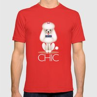 Chic Poodle Mens Fitted Tee Red SMALL