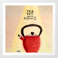 Little Red Teapot Art Print