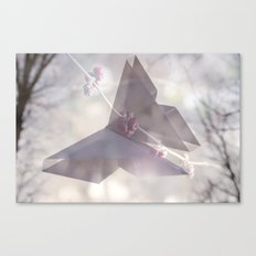 Double Exposure Butterfly Origami Canvas Print