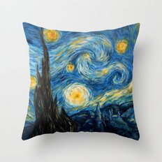 A Starry Night at Hogwarts Throw Pillow