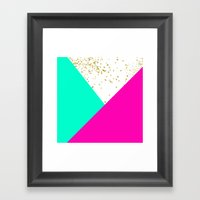 Stylish neon pink turquoise color block gold girly Framed Art Print