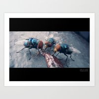 Flies On Frosting Art Print