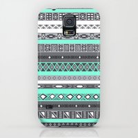 Galaxy S5 Cases featuring Tiffany Turquoise Aztec Print by RexLambo