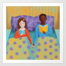 lovers in bed Art Print