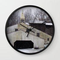 Wall Clock featuring Hopewell Furnace by BinaryGod.com