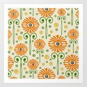 Retro Sunflower Pattern - Susan Weller Art Print