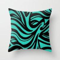 Blue & Black Waves Throw Pillow