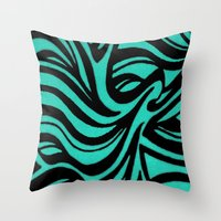 Blue & Black Waves Throw Pillow