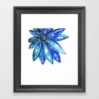 Blue Watercolor flower Framed Art Print