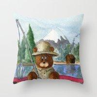 Fisherman Bear Throw Pillow