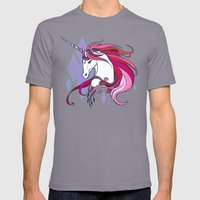 Pink Unicorn Mens Fitted Tee Slate SMALL