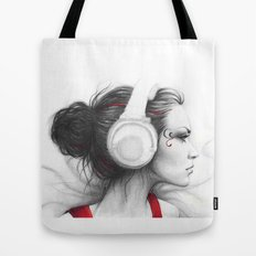MUSIC - pencil portrait girl in headphones Tote Bag
