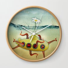 yellow submarine in an octapuses garden Wall Clock