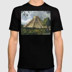 Mayan Pyramid SMALL Mens Fitted Tee Black