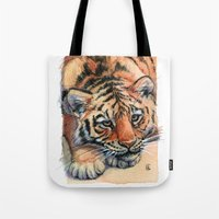 Resting Tiger Cub 896 Tote Bag