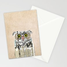 Owl Newspaper Collage Stationery Cards