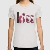 Kiss Womens Fitted Tee Silver SMALL
