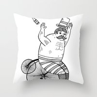 On wild and adventurous Penny-Farthling riders  Throw Pillow