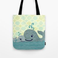 Whale Mom And Baby Tote Bag