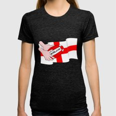 England Rugby Flag Womens Fitted Tee Tri-Black SMALL