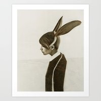 rabbit Art Prints featuring Rabbit by Ruben Ireland