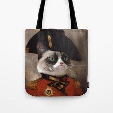 Angry cat. Grumpy General Cat.  Tote Bag