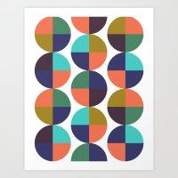 mod circles pattern Art Print