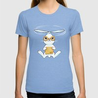 Postal Bunny Womens Fitted Tee Tri-Blue SMALL