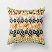 Folkloric Crazy Quilt Boho Throw Pillow