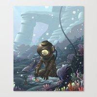 Underwater Gardener Crop Canvas Print