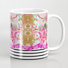 Fashion Girly Pink Vintage Floral Trendy Stripes Pattern Mug