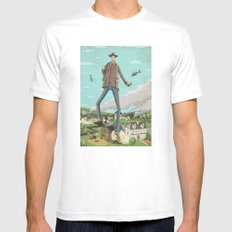 Tall White Mens Fitted Tee SMALL