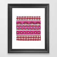Mixed Stripes (Red & Pin… Framed Art Print