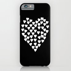 Hearts on Heart White on Black Slim Case iPhone 6s
