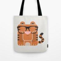 Hipster Tiger Art Print Tote Bag