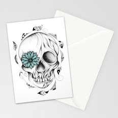 Poetic Wooden Skull Stationery Cards