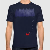 Alone In The Forest Mens Fitted Tee Navy SMALL