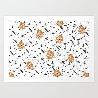 Daisy. Illustration, flowers, print, design, pattern, floral, fashion, drawing, Art Print