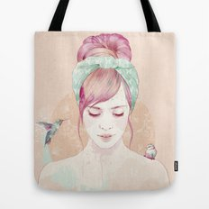 Pink hair lady Tote Bag