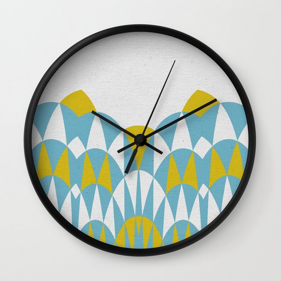 Modern Day Arches Blue and Yellow Wall Clock