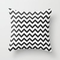 Funky chevron - black Throw Pillow