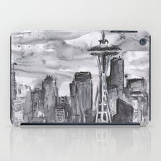 Seattle Skyline Watercolor Space Needle iPad Case