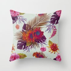 TROPICAL FLORAL PASSION Throw Pillow