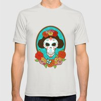Day of the Dead Beauty Mens Fitted Tee Silver SMALL